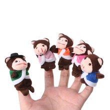 Toys Dolls Finger-Puppets-Set Hand-Cloth Monkey Plush Story Telling Baby-Boys-Girls Cartoon-Animal