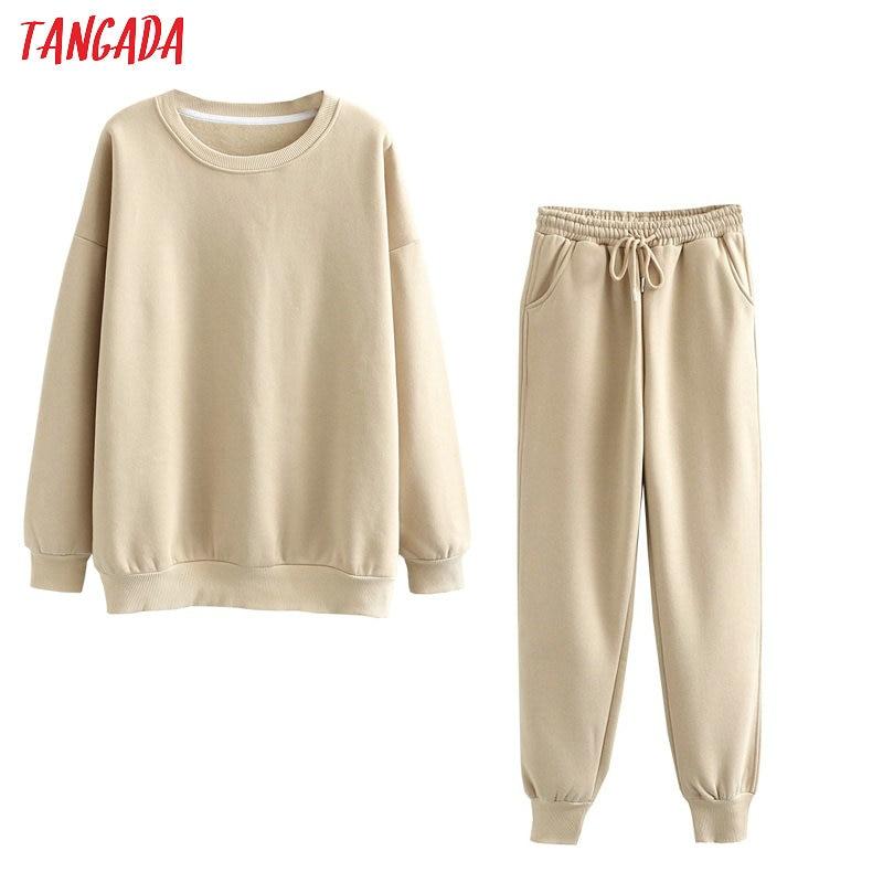Hc46e75d21f2a4319a9ce72446bfa7c6f4 Tangada 2020 Autumn Winter Women warm yellow fleece 100% cotton suit 2 pieces sets o neck hoodies sweatshirt pants suits 6L24