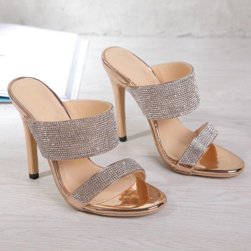 Fashion Rhinestone Plus Size 35-42 Women's Slippers Sandals 2020 Summer Shallow Stiletto High Heels Ladies Slides Women's Shoes 1