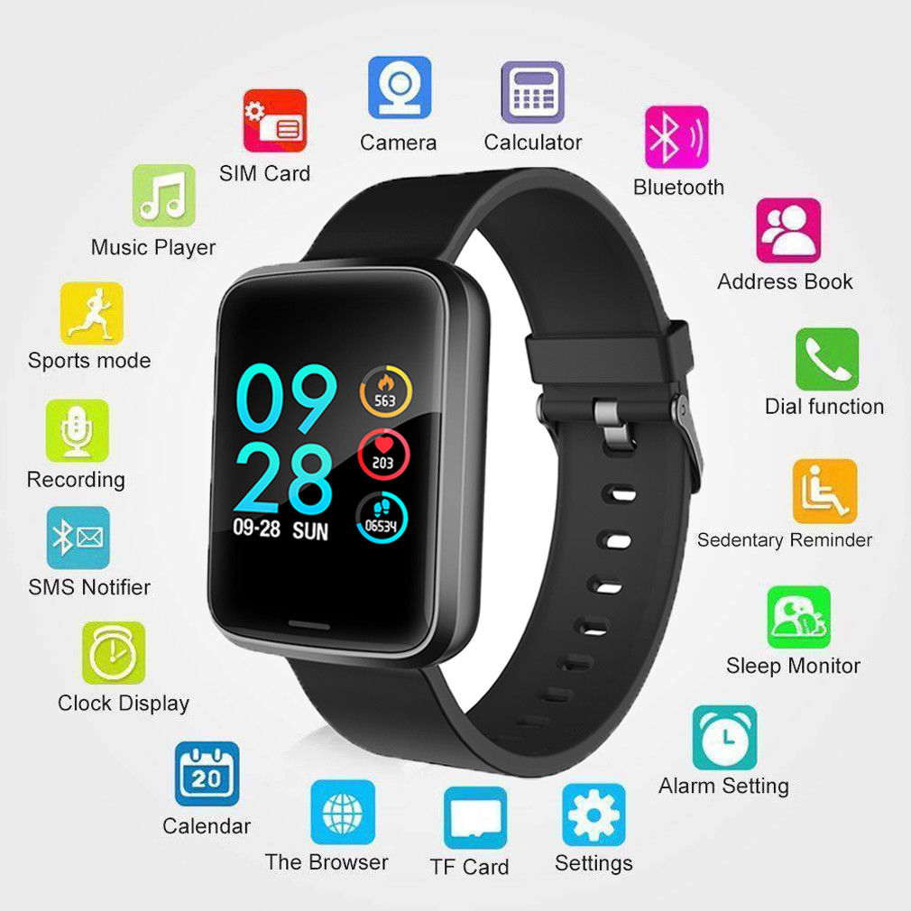 New Smart Bracelet 1.3 Inch Large Color Screen Bluetooth Heart Rate Blood Pressure Health Monitoring Men Waterproof Sports Watch