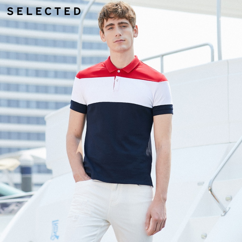 SELECTED Men Summer Contrasting Turn-down Collar Short-sleeved Poloshirt S|419206553