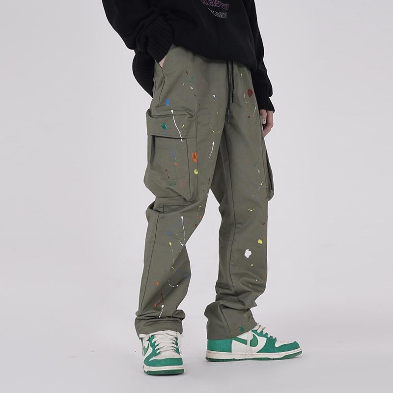 Harajuku Painted Streetwear Cargo Pants Mens Drawstring Wide Leg Casual Pocket Trousers High Street Drawstring Loose Track Pants