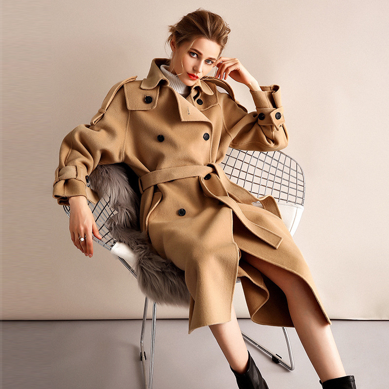 Abrigo de invierno de mujer estilo gabardina de camel de doble cara de lana de Cachemira prendas de vestir 2019 Otoño de talla grande abrigos para mujer largo envío gratis