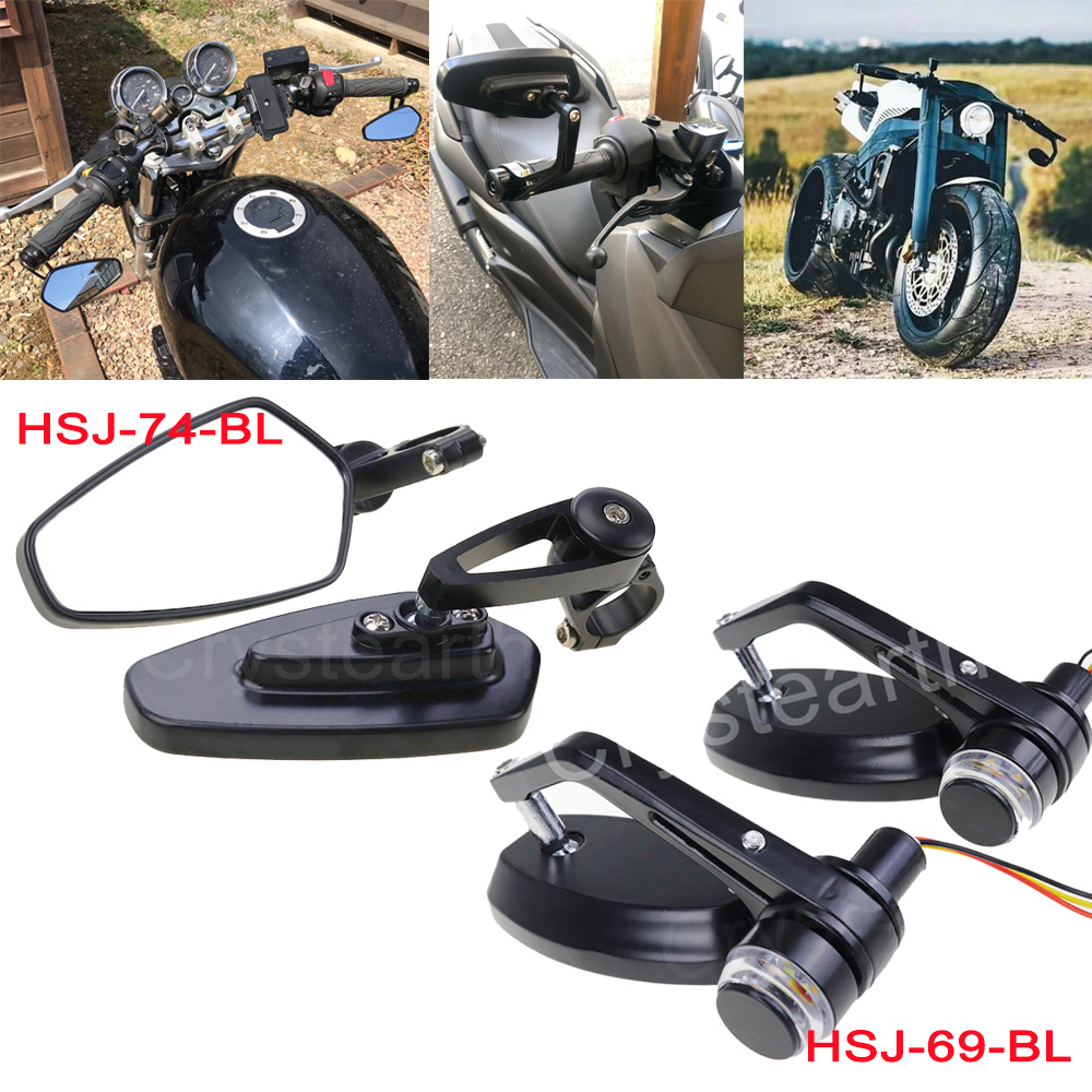 """2pcs//Set Motorcycle Rear View Handle Bar End Side Rearview 7//8/"""" Mirrors Black"""