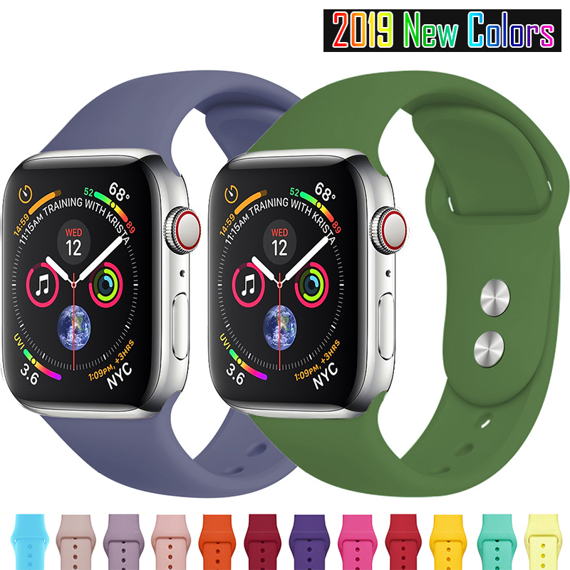 MU SEN  Sports Silicone Band For Apple Watch Series 4/3/2/1Replace Bracelet Strap Watchband Watchstrap For Apple Watch 42mm 38mm