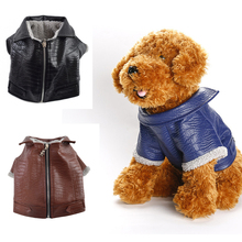 Winter Dog Coat Leather Jacket Soft Waterproof Clothes Puppy Poodle Chihuahua Costume Apparel French Bulldog Clothing