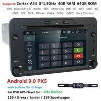 DSP Android 9 1DIN Car DVD multimedia player for Alfa Romeo Spider Alfa Romeo 159 Brera 159 Sportwagon TPMS Radio GPS WIFI BT PC