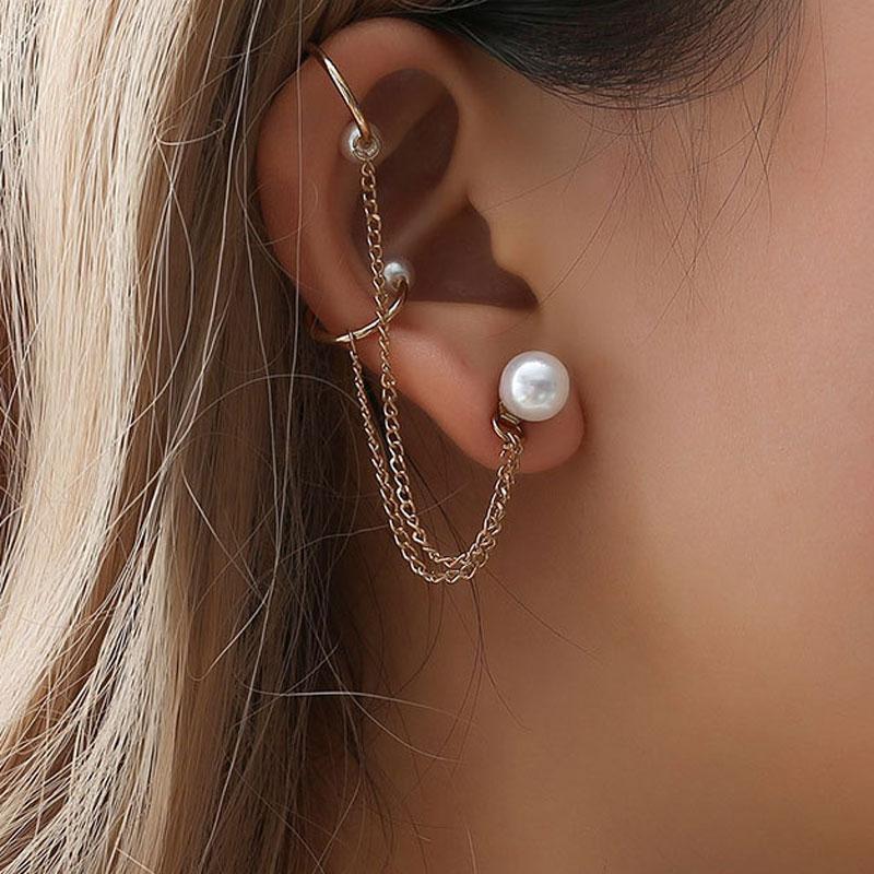 Trendy Pearl Tassel Clip Earrings For Women Simple No Pierced Ear Cuff Chain Earrings Fashion Jewelry Party Gift Wholesale(China)
