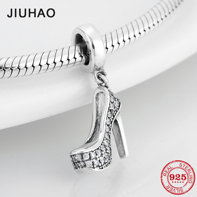 Beautiful 925 Sterling Silver Shining Clear CZ Crystal High Heels Shape Charm Fit Original Pandora Charms Bracelet Jewelry