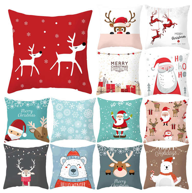Frigg Gold Christmas Cushion Cover  Happy New Year Home Decor Pillow Case Cotton Linen Sofa Cushion Cover Pillowcase Christmas