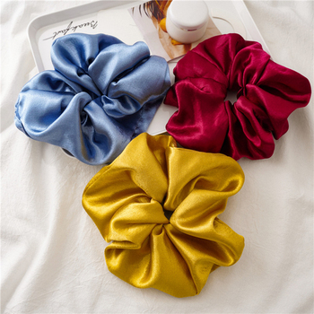 Glitter Smooth Satin Hair Scrunchies Pure Color Glossy Solid Color Oversized Hair Rope Ponytail Holder Women Hair Accessories image