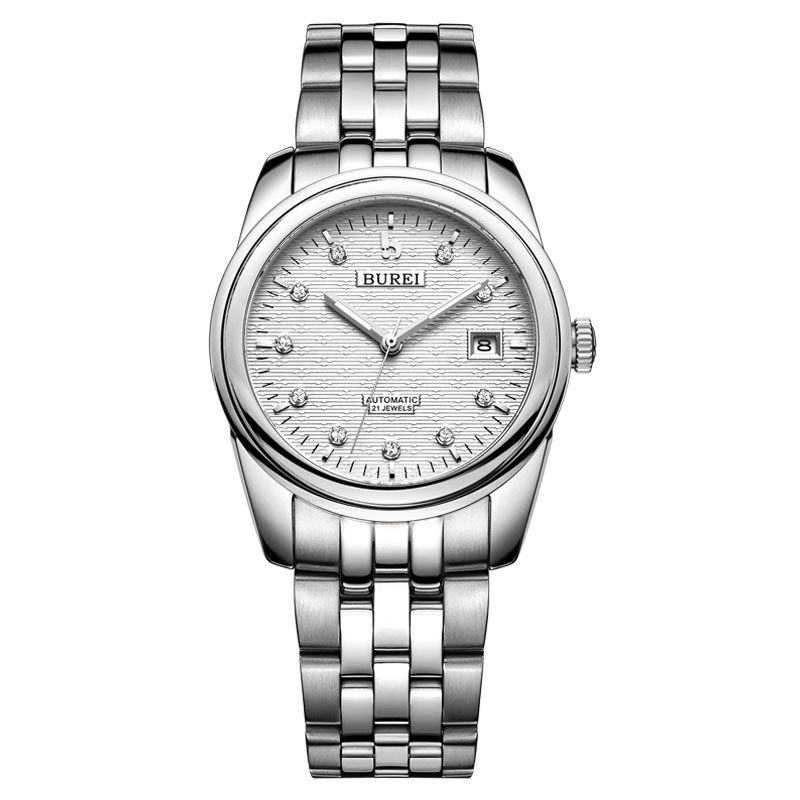 BUREI 5010 Switzerland watches men luxury brand oyster perpetual datejust diamond automatic self wind white stainless steel|Mechanical Watches|   - title=