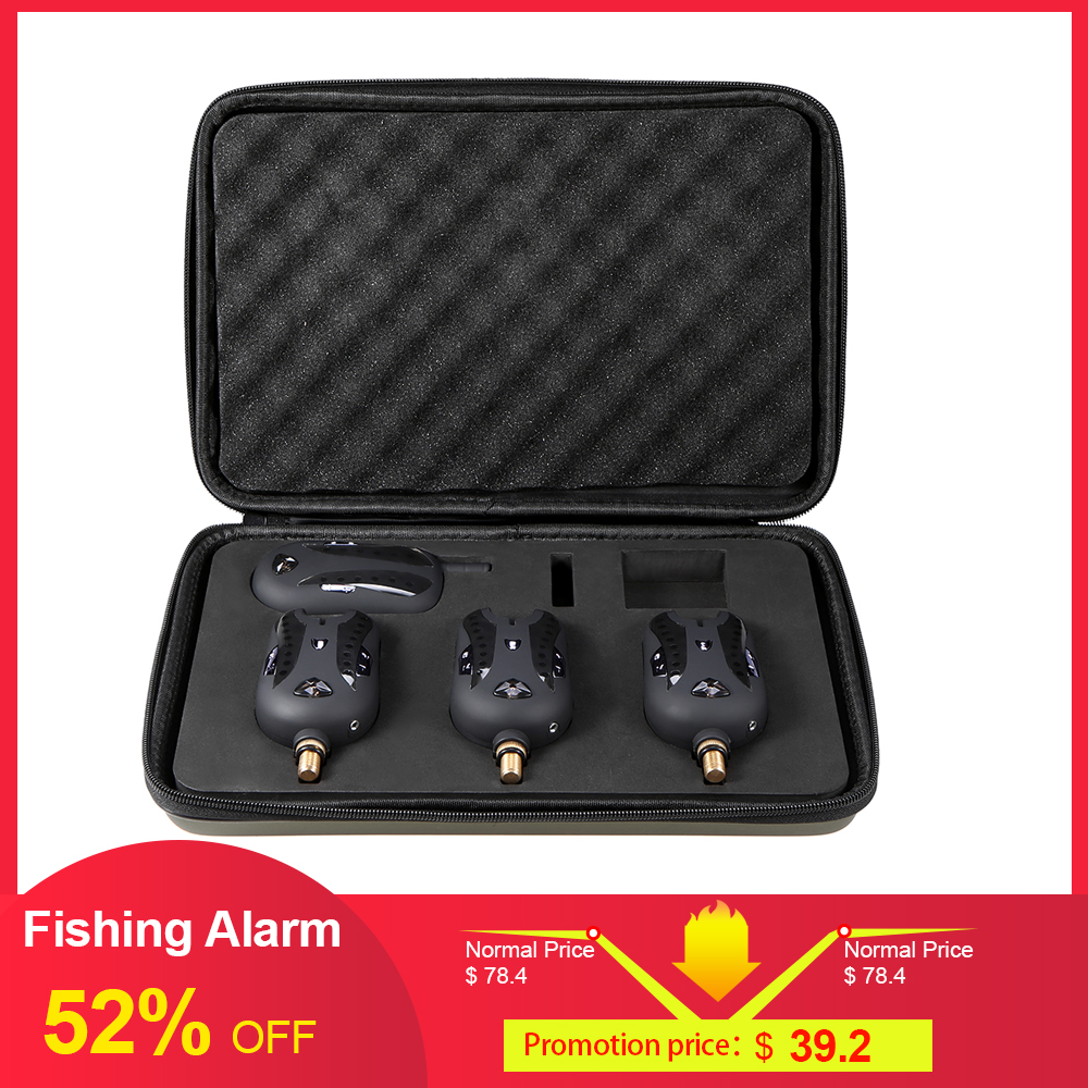 Lixada Wireless Fishing Alarm Fishing Bite Alarms Set Digital Fishing Receiver Sound Alert Kit Led Indicator With Case Pesca