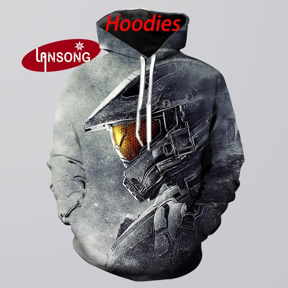 Hip Hop New Hoodies Streetwears 3d Print Halo Men Funny Guardians Harajuku Sweashirts/pants Jacket Men Short Homme Clothes Men