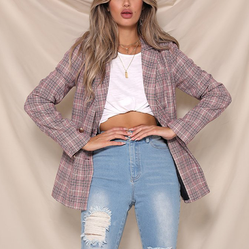England Casual Double Breasted Plaid Blazer Women Fall Long Sleeve Women Blazers And Jackets Notched Collar Woman Suit Blazer