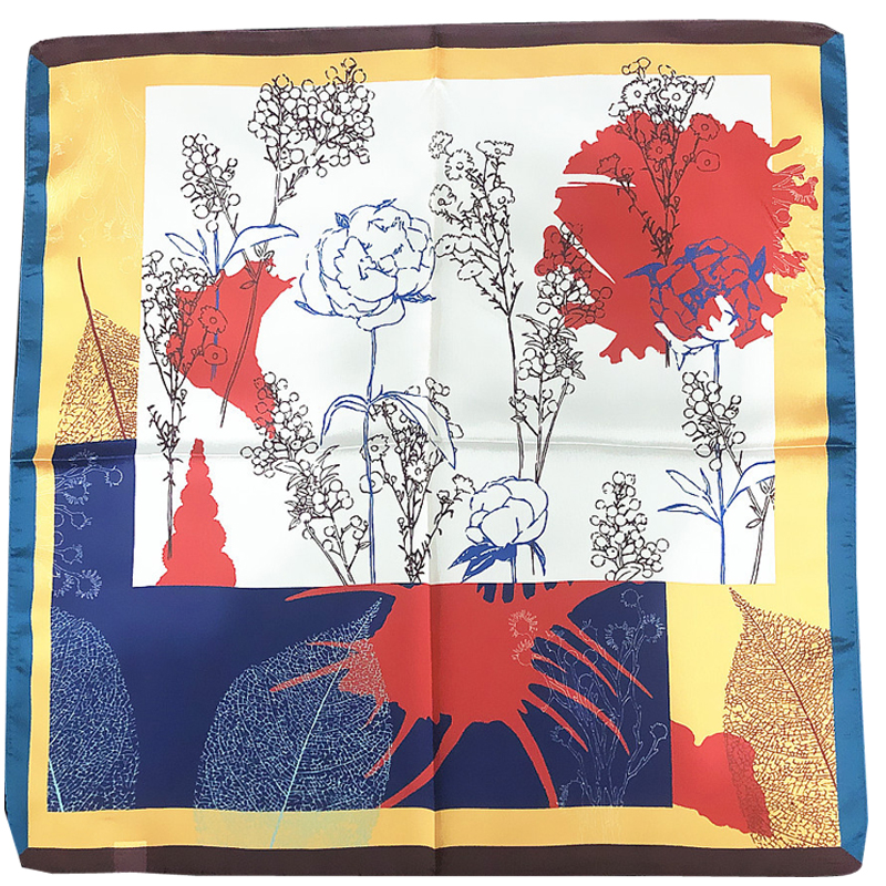 Korean 53cm New square silk scarf for women fahsionable hand painted branch flower imitation silk ladies neck scarf hair scarfs