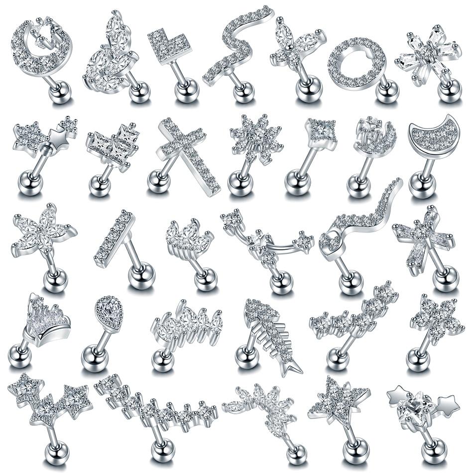 1Piece Copper Silver Color Cross Moon Star Flower CZ Tragus Cartilage Ear Stud Piercing Crystal Daith Earrings Piercing Jewelry