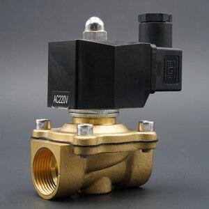 """Image 2 - الملف اللولبي صمام المياه عادة إغلاق صمامات النحاس 220V12V24V الهواء صمام الملف اللولبي الغاز المياه 1/4 """"3/8"""" 1/2 """"3/4"""" 1 """"2"""""""
