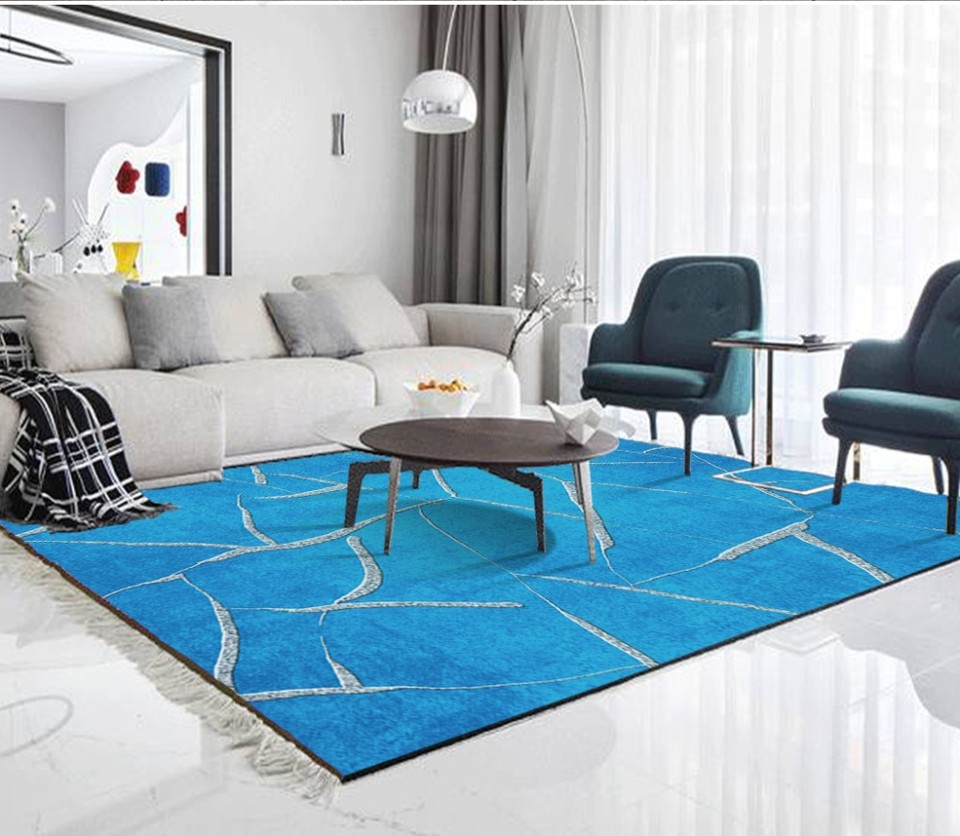 fresh blue abstract water pattern living room bedroom carpet floor 3d wallpaper