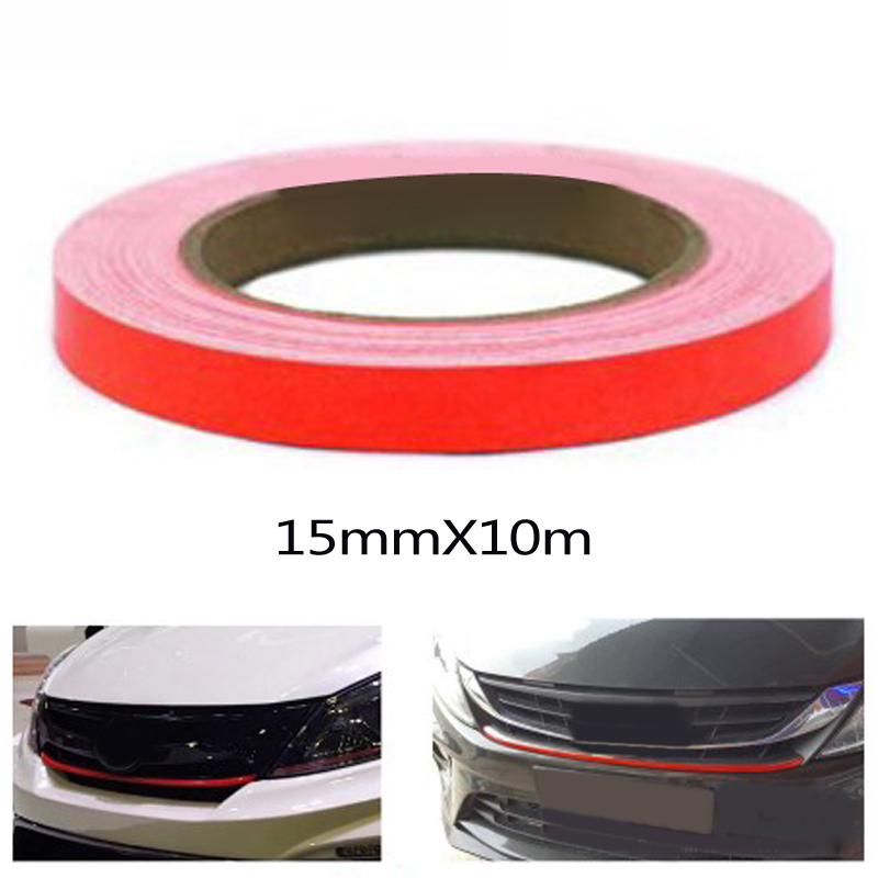 Red Lining Reflective Vinyl Wrap Film Decal Sticker Waterproof Self-sticking Backing Strip Cover Car Sticker 15mm X 10m