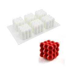 Силиконовая форма для торта в форме кубика 6 ячеек