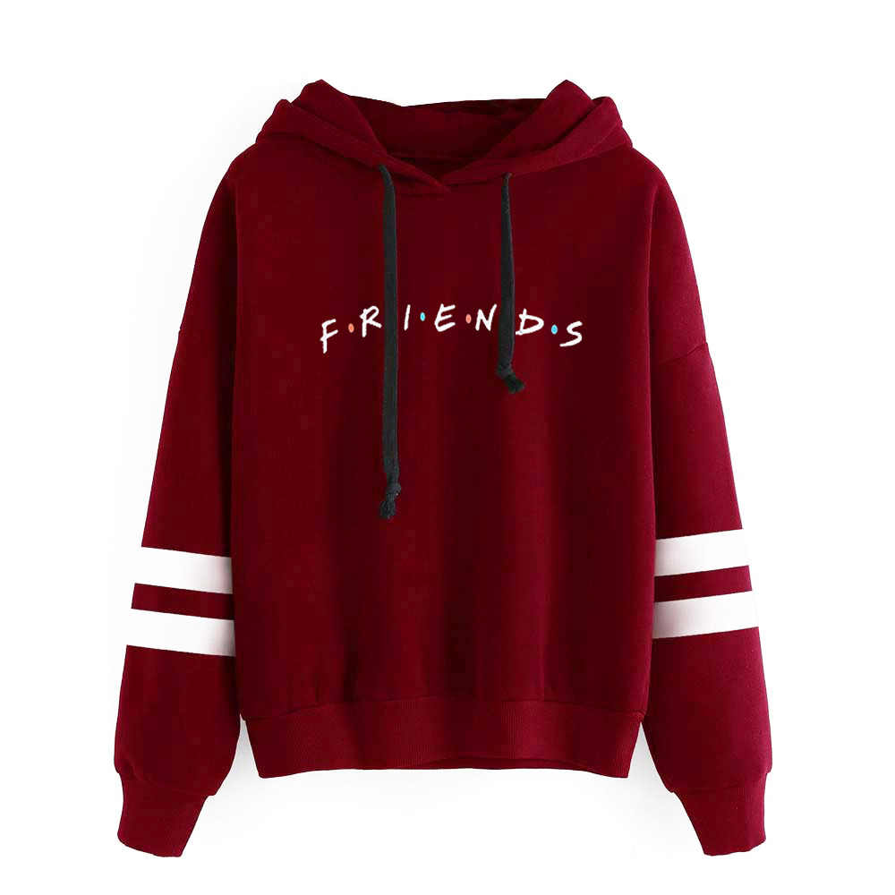 New Kpop  Friends Letter Printed Sweatshirt The Autumn Long Sleeve Hoody Hoodies Outerwears with Hat Pullover Hoodies Women Tops