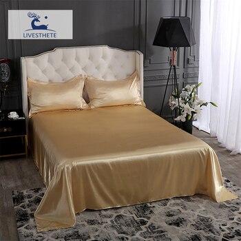 Liv-Esthete Womom Luxury 100% Silk Flat Sheet Silky Pillowcase Bed Linen Set Queen King Bed Sheet Healthy Skin For Family