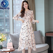 Chiffon Printed Pleated Midi Dress for Women Autumn Casual Long Sleeve Pink Floral Fashion Street Party Dresses Vestidos