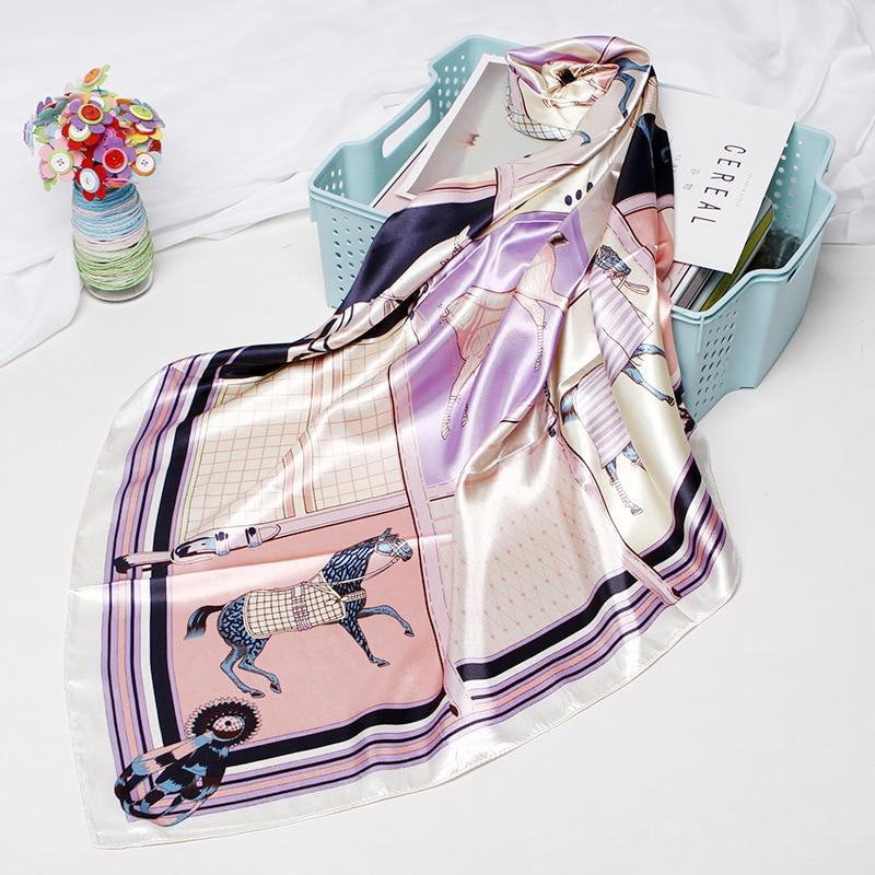 Square Scarves Women Chain Print Sunscreen Silk Scarf Female Silk Satin Long Scarf Dual-use Shawl Beach Towel Shawl Ten Horses