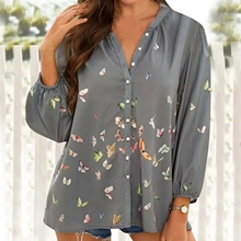 T-Shirts Women Tops Ladies Butterfly Print Buttons t Shirt Casual V-Neck Long Sleeve Shirts for Women 2021 Spring Female Tops