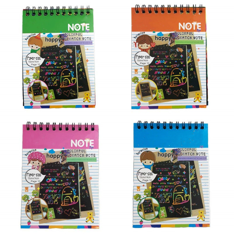 4 Pcs 10*14cm Magic Scratch Colorful Note book Art and Crafts Painting drawing writing Paper note pads Creative doodle kids toys