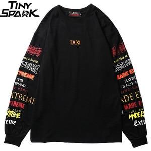 Image 1 - Hommes à manches longues T Shirt Harajuku Streetwear rétro coloré lettre impression T Shirt Hip Hop 2019 été hauts T Shirt noir coton