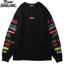 Uomini T Shirt A Manica Lunga Harajuku Streetwear di Colori Retrò Della Stampa Della Lettera Maglietta Hip Hop 2019 di Estate Magliette e camicette Tee T Shirt Nera cotone