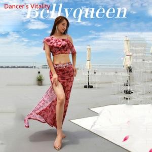 Image 5 - קיץ הגעה חדשה בגדי ביצועים בטן ריקוד שמלת נשים של 2 חתיכה להראות (קצר שרוול חולצה חצאית סדק חצאית) ורוד