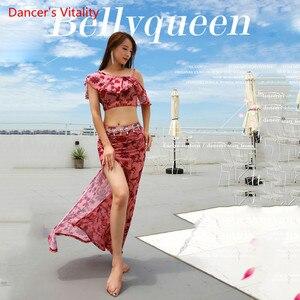 Image 5 - Summer New Arrival Clothing Performance Belly Dance Dress Womens 2 Piece Show (short Sleeve Blouse Skirt Slit Skirt) Pink
