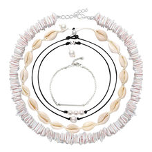 Fashion Jewelry Hawaii Style Natural Shell Necklace Handmade Rope Pearl Shell Short Clavicle Short Necklace Anklet(China)