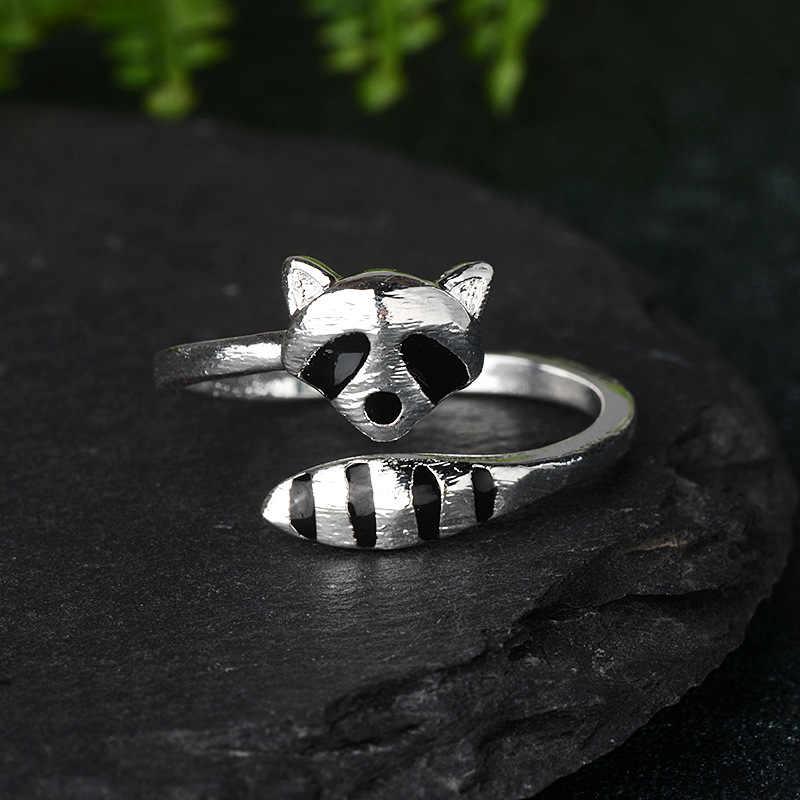 Nowe zwierzęta kreskówkowe śliczne delikatne raccoon ogon lisa biżuteria panie zaręczyny prezent ślubny otwarty pierścień
