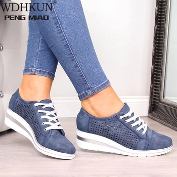 WDHKUN Autumn Women Flats Shoes Female Hollow Breathable Mesh Casual Shoes For Ladies Slip On Flats Loafers Lace Up Shoes Beach