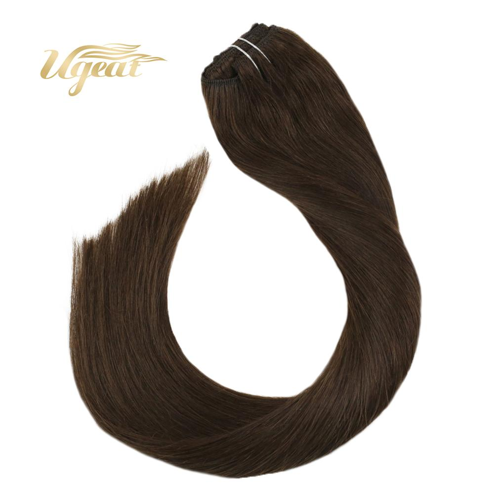 Ugeat Full Head Clip In Hair Extensions Human Hair Brown Color Hair #4 Non-Remy Brazilian Hair Extenisons 14-24
