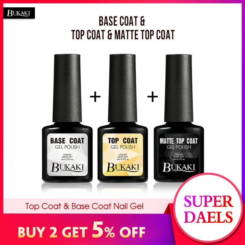 BUKAKI Gel Nail Polish Base and Top Coat Set Matte Top Coat Soak-off UV Varnish Long Lasting Soak Off UV Gel Nail Art Manicure