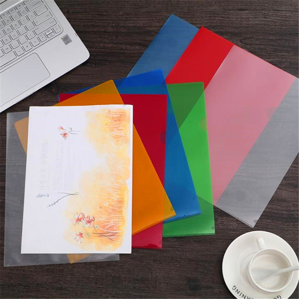 New L-shape A4 Clear Colorful Document Bag Paper PP File Folder Stationery School Office Supplies