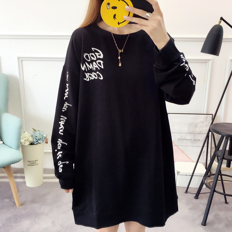 2019 autumn new Korean version of the XL T-shirt women's thin section long-sleeved loose hole wild T-shirt shirt women 84