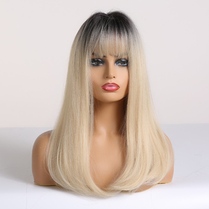 Image 4 - ALAN EATON Ombre Black Light Blonde Synthetic Wigs Long Straight Women Wigs with Bangs Bobo Wigs Natural High Temperature Fiber