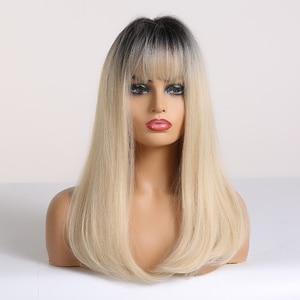 Image 4 - ALAN EATON Ombre czarny jasny blond peruki syntetyczne długie proste kobiety peruki z grzywką Bobo peruki naturalne wysokiej temperatury włókna
