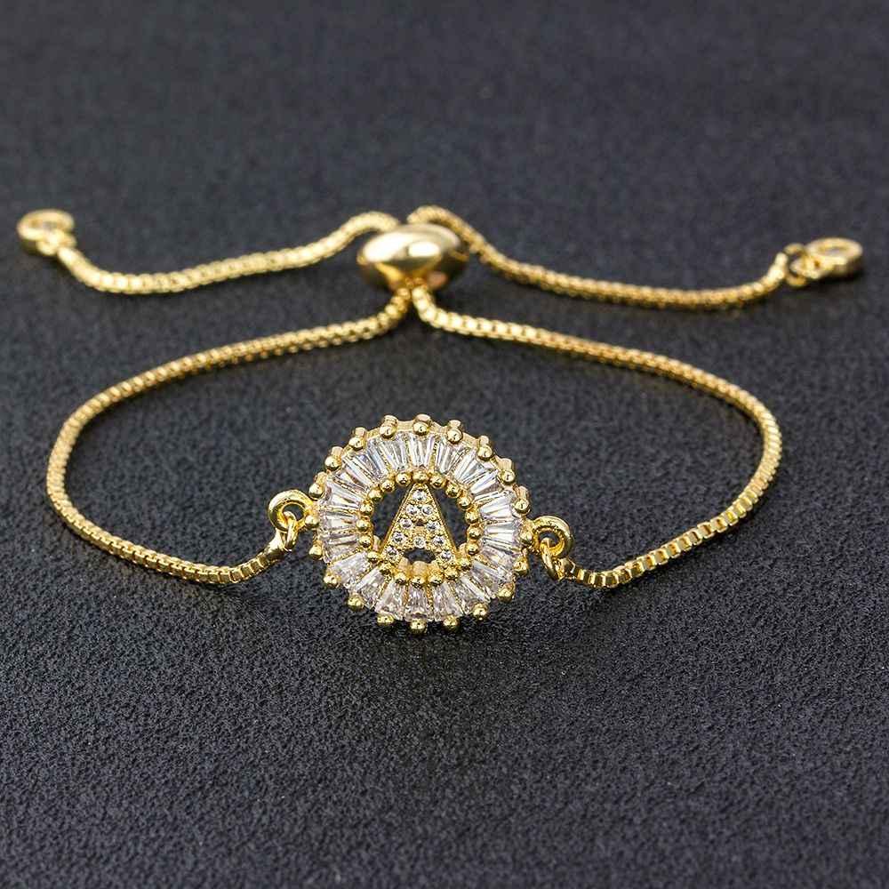 Qualidade superior A-Z inicial cobre cúbico zircon carta pulseiras ouro/branco/rosa ouro cores corrente ajustável para jóias femininas