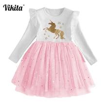 цены на VIKITA New Fille Robe Licorne Girls Unicorn Birthday Party Dress Toddlers Tutu Princess Vestidos Kids Mesh Dress for Girls  в интернет-магазинах