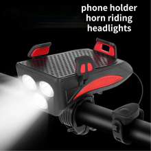 Bike Light Bike Flashlight  4 IN 1 Bike Horn Holder 400 Lumens LED MultifunctionPower Bank Bicycle Front Lamp Phone Stand Holder