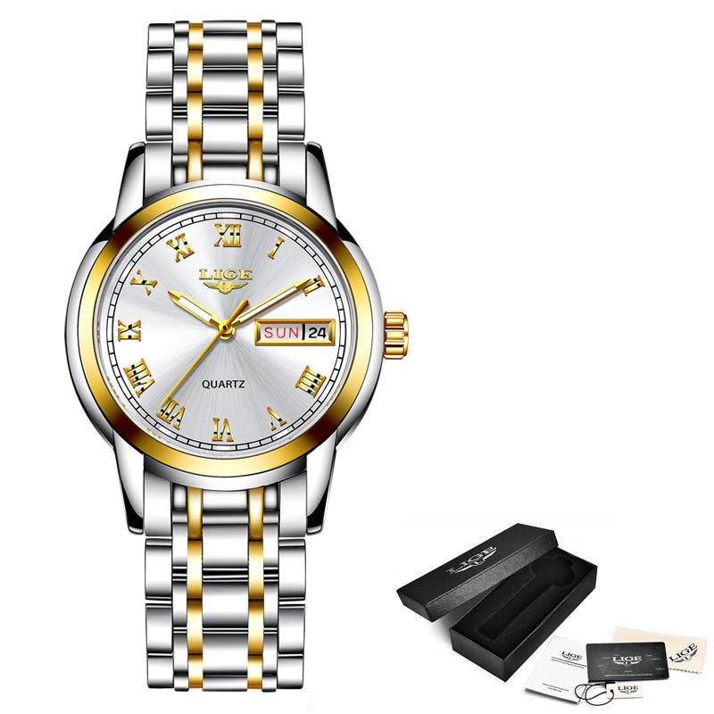 Ultimate SaleLIGE Luxury Ladies Watch Women Waterproof Rose Gold Steel Strap Women Wrist Watches Top Brand Bracelet Clock Relogio Feminino