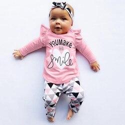 Набор для новорожденных малышей младенцев девочек зимние теплые модные рождественские буквы о-образный вырез геометрические штаны наряды ...