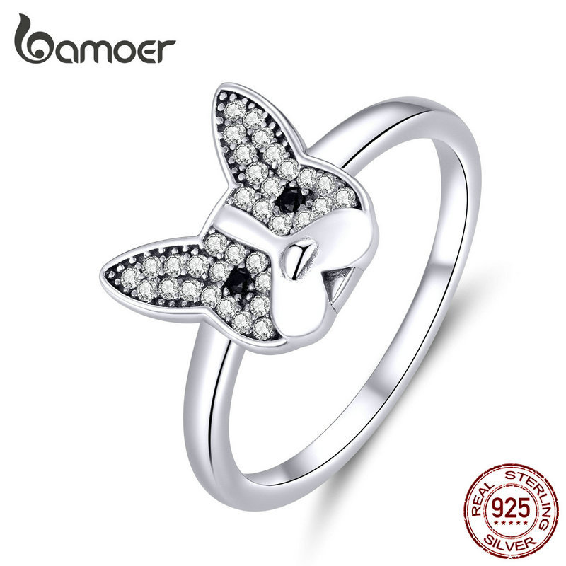 Bamoer Genuine 925 Sterling Silver French Bulldog Finger Rings For Women Clear CZ Party Statement Silver 925 Jewelry SCR612
